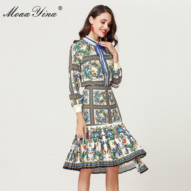 MoaaYina 2018 ensemble de créateurs de mode printemps femmes à manches longues Floral imprimé élégant Blouse + irrégulière sirène jupe deux pièces costume