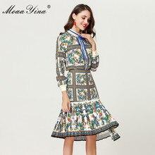 MoaaYina 2018 אופנה מעצב סט אביב נשים ארוך שרוול פרחוני אלגנטי חולצה + סדיר בת ים חצאית שני  חליפת חתיכה