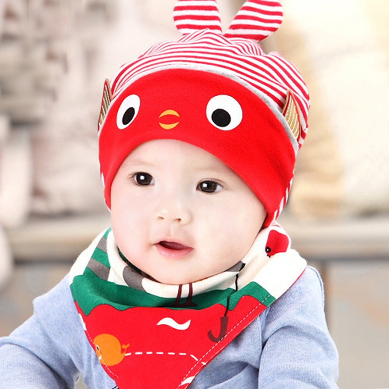 Newborn Baby Hat+Bib 2 Stks / Set Cotton Cartoon Beanie Baby Boy Girls Hats 4 Colors Kids Hat Accessories