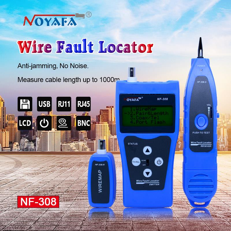 Мониторинг сети Кабельный тестер ЖК-дисплей NF-308 провода локатор локальной сети Coacial BNC USB RJ45 RJ11 синий цвет
