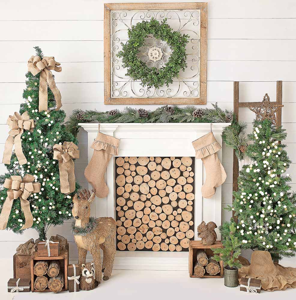 Mehofoto Christmas Tree Backdrop Fireplace Photo Background White Brick Wall Photography Backdrops for Wood Floor Props 914 model fans in stock genuine pocket monster 15cm charizard gk resin made figure toy for collection