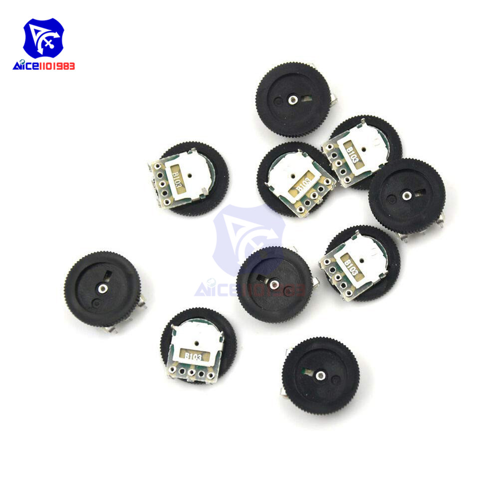 5PCS/Lot Volume Wheel Gear Potentiometer B103 10K Ohm 3-Pin Single Linear Dial Wheel Potentiometer Stereo Volume Level Control