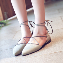 Women's Pointed Toe Lace-up Ballet Flats Genuine Leather Ladies Elegant Red Bottom Ballerinas Breath Comfort Summer Shoes Women