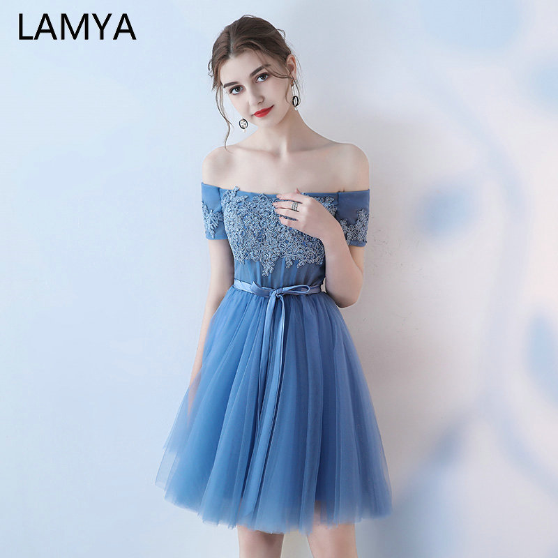 LAMYA Customized Knee Length Ball Gown Prom Dresses Elegant Lace Appliques Formal Party Dress Sexy Lace Up Robe De Soiree