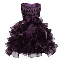 Girl Lace Princess Purple Gown Tutu Dress Sleeveless Beading Children Prom Party Design First Communion Dresses