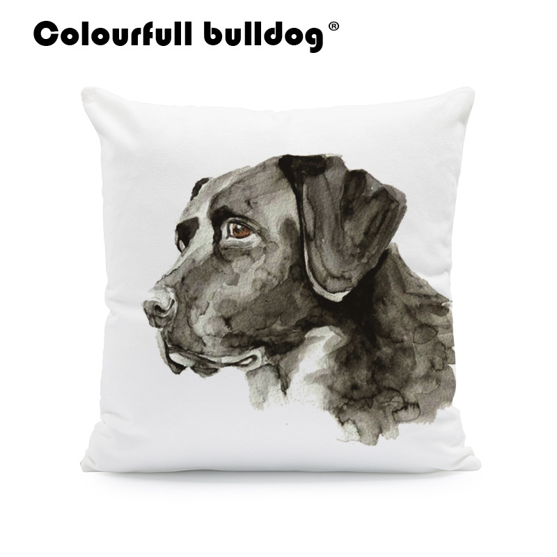 Watercolor Golden Retriever Throw Pillows Shih Tzu Pug French Bulldog Cushion Covers Great Dane 43*43 cm Couch Decor Pillowcases