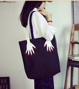 10 pieces women ladies fashion casual embroider hand finger palm canvas handbags tote shoulder bag 39*41 cm