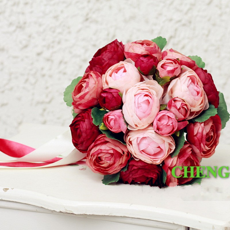 Cheap Burgundy/Pink/Yellow Peony Wedding Bouquets Beautiful Wedding ...