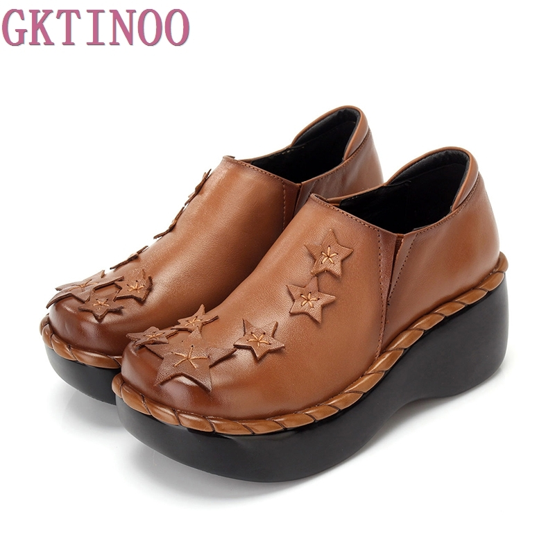 GKTINOO new fashion high heels women's pumps women genuine leather wedges shoes woman platform shoes 2017 new women s genuine leather pumps female casual shoes sexy lady medium heels fashion high wedges platform flower slip on