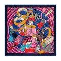 130 см * 130 см 100% Шелковой Саржи большие квадратные шелковые шарфы Женские Платки Моды Марка Стиль Мода Париж Девушка Ремень сумки Печатные
