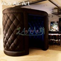 Black color curly inflatable L.E.D photo booth,curved designed foto pod booth tent for school/Dj's or specific events