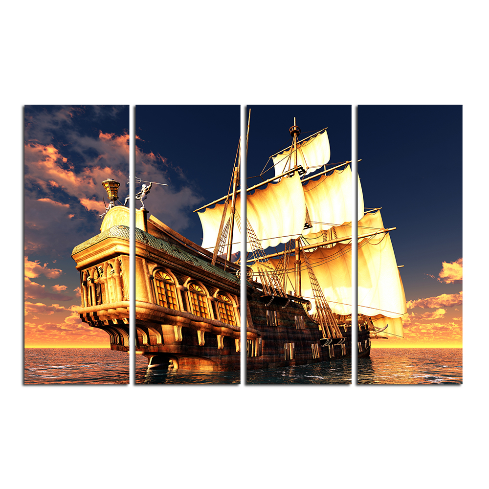 Ship Pictures Navigation Wall Decor Sailing Ship on the Sea Ocean Seascape Canvas Artwork Giclee Prints 4 Pieces