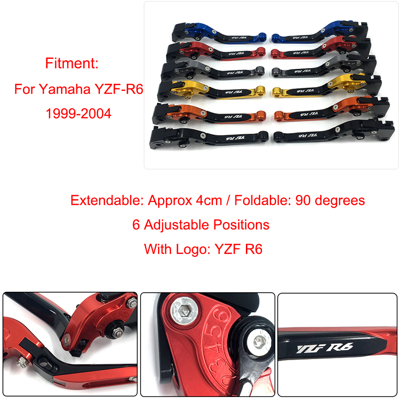 1999 2000 2001 2002 2003 2004 YZF-R6 YZF R6 CNC Adjustable Foldable Extendable Brakes Clutch Levers For Yamaha R6 1999-2004 for yamaha xt600e xt 600e 600 e 1990 2003 2002 2001 2000 1999 cnc folding extendable 147 short clutch brake levers 8 colors