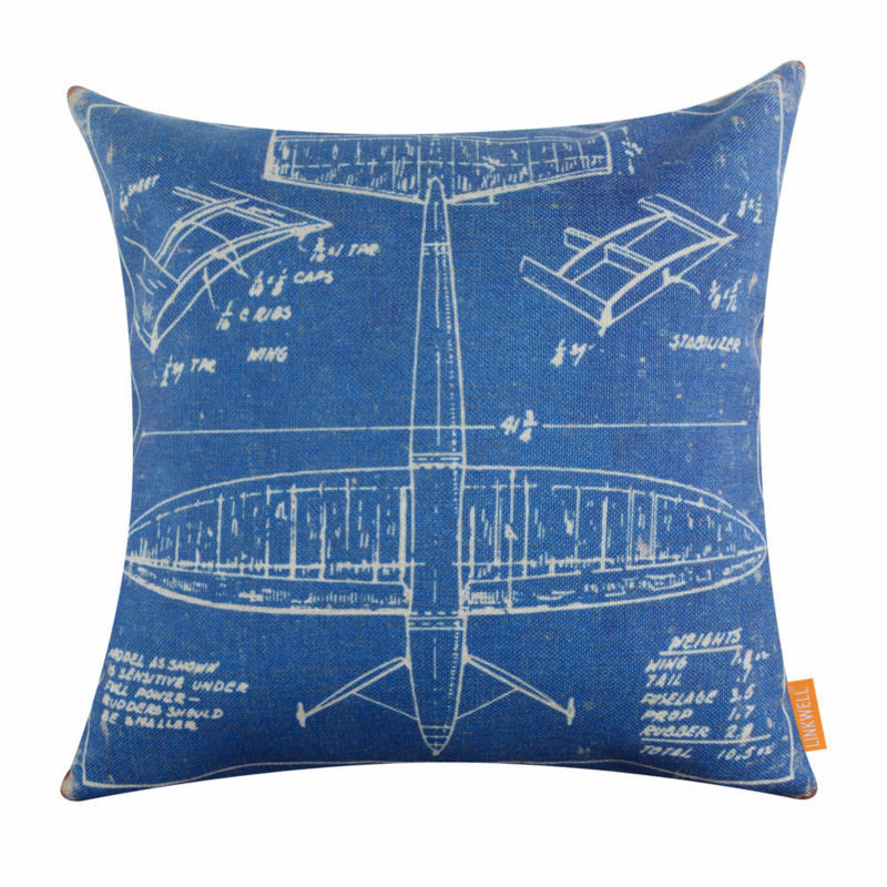 LINKWELL 18x18 American Style Blue Airplane Patent Design Draft Drawings Aircraft Plane Burlap Pillow Cushion Cover Pillowcase