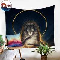 Soul Keeper de JoJoesArt tapiz León Dios en el cielo pared colgar hojas de animales tapiz dorado decoración del hogar 130x150cm alfombra de Picnic