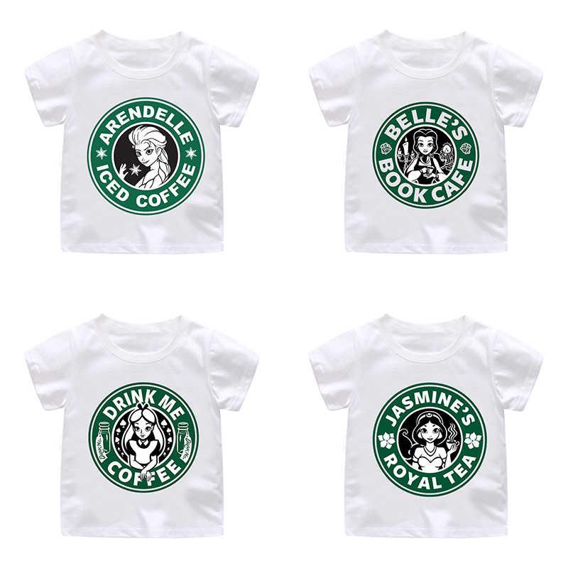 ZSIIBO/кофейная футболка новый модный костюм для девочек 2019 г. летние модные футболки с короткими рукавами и принтом принцессы, топы для девочек CX6L150