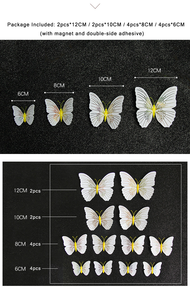12Pcs/set Ambilight 3D Butterfly Wall Sticker Butterflies home decoration room decor Fridge Magnet wall stickers for wedding