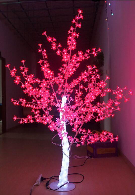 Envío gratis 5FT LED Navidad Año nuevo Luz Cristal Árbol de cerezo en flor con hojas rojas al aire libre