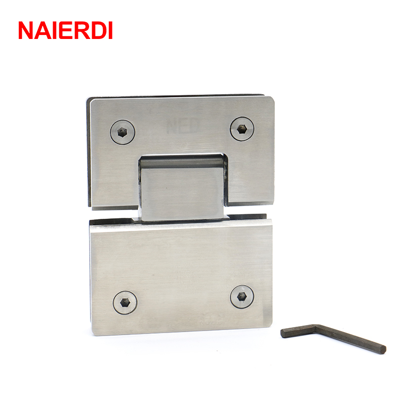 2PCS NAIERDI-4904 180 Degree Hinge 304 Stainless Steel Wall Mount Glass Shower Door Hinges For Home Bathroom Furniture Hardware 2pcs 90 degree bronze stainless steel hinges frameless wall to glass bathroom shower door hinge wall mount 8 10mm hinge jf1773