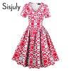 Sisjuly Vintage Dress 1950s Style Spring Summer Rockabilly Women Party Geometric Dress 2017 Elegant Female Cute