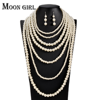 Wedding Fashion Pearl Chocker African Beads Jewelry Set 2016 Statement Very Long Necklace Set For Women