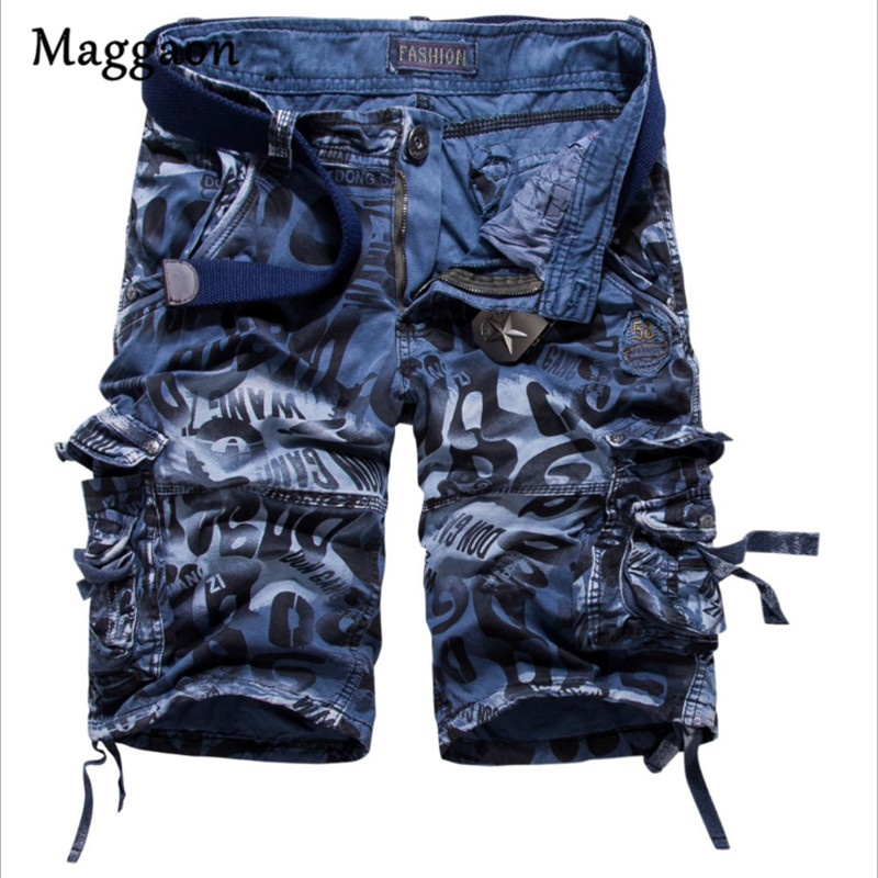 EUR Size 29-42 Summer Mens Military Cargo Shorts Army Camouflage Pockets Shorts Men Casual Short Print Loose Work Shorts NO BELT