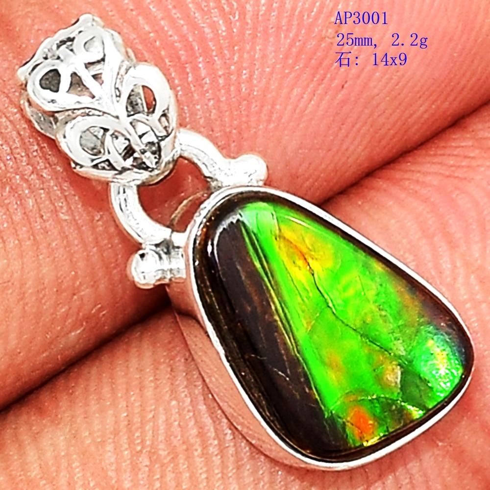 Lovegem Genuine Ammolite Pendant 925 Sterling Silver , 25 mm, AP3001Lovegem Genuine Ammolite Pendant 925 Sterling Silver , 25 mm, AP3001