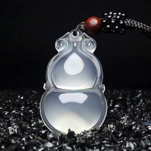 Drop Shipping Natural Chalcedony Gourd Pendant Necklace Lucky Amulet FuLu For Men And Women Gift