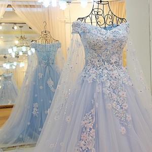Image 3 - LS64420 Blauwe jurk lange partylong cape sweetheart floor lengte avond party jurken 2016 lange met bloemen 100% real photo
