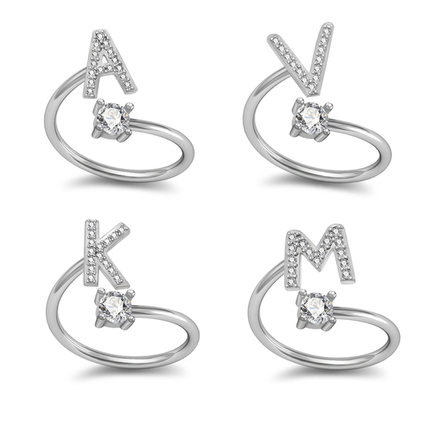 Fashion 26 Letters Silver Ring For Women Rhinestone Open Finger Rings Female Engagement Ring Jewelry Anel Party Gift LR08003