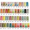 100 unids Glitter Largo Uñas Postizas Consejos Francés Uñas Postizas de Acrílico Media Tips Arte Brillante Diseño coloreado glitter73-103