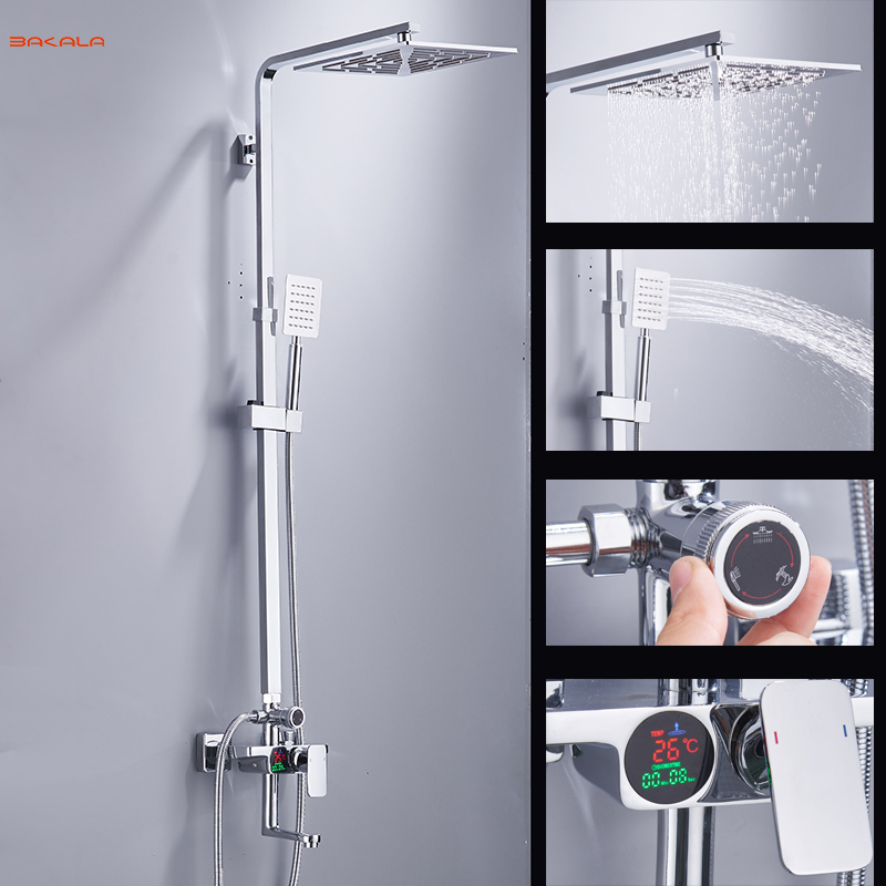 BAKALA Digital Display Shower Set Intelligent Thermostatic Brass Faucet Smart Rain Wall Waterfall Temperature Shower Faucets 04 china sanitary ware chrome wall mount thermostatic water tap water saver thermostatic shower faucet
