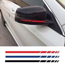 Hotmeini наклейка для автомобилей 2sets4pcs зеркало заднего вида боковая наклейка в полоску виниловые Аксессуары для кузова грузовика черный/серебристый 20*0,7 см
