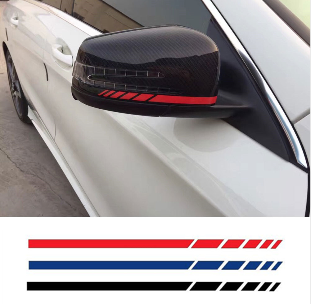 HotMeiNi Car Sticker 2sets4pcs Rearview Mirror Side Decal Stripe Vinyl Truck Vehicle Body Accessories Black/Sliver 20*0.7cm