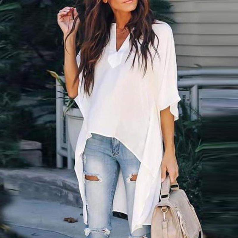 Women Plus SIze   Shirt   Loose   Blouse   Irregular Solid Casual Summer Ladies Bat Sleeves Asymmetric Chiffon Baggy Fashion