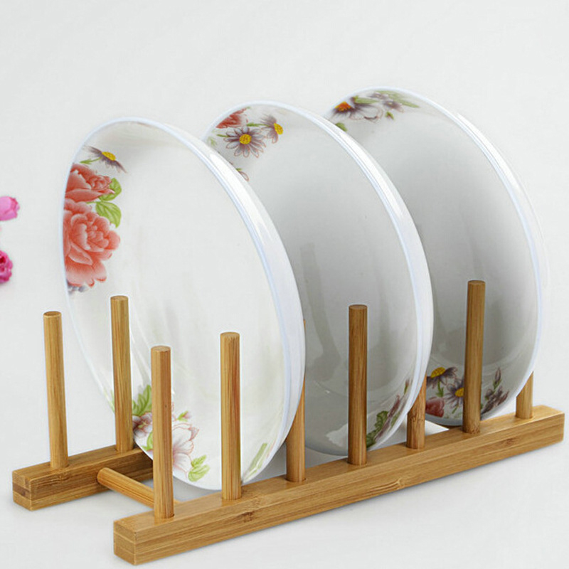 Natural Bamboo Wooden Plate Rack Wood Stand Display Holder Lids Holds 6 Grids New Heavy Duty Rack Kitchen Organizer XN721-in Racks u0026 Holders from Home ...  sc 1 st  AliExpress.com & Natural Bamboo Wooden Plate Rack Wood Stand Display Holder Lids ...