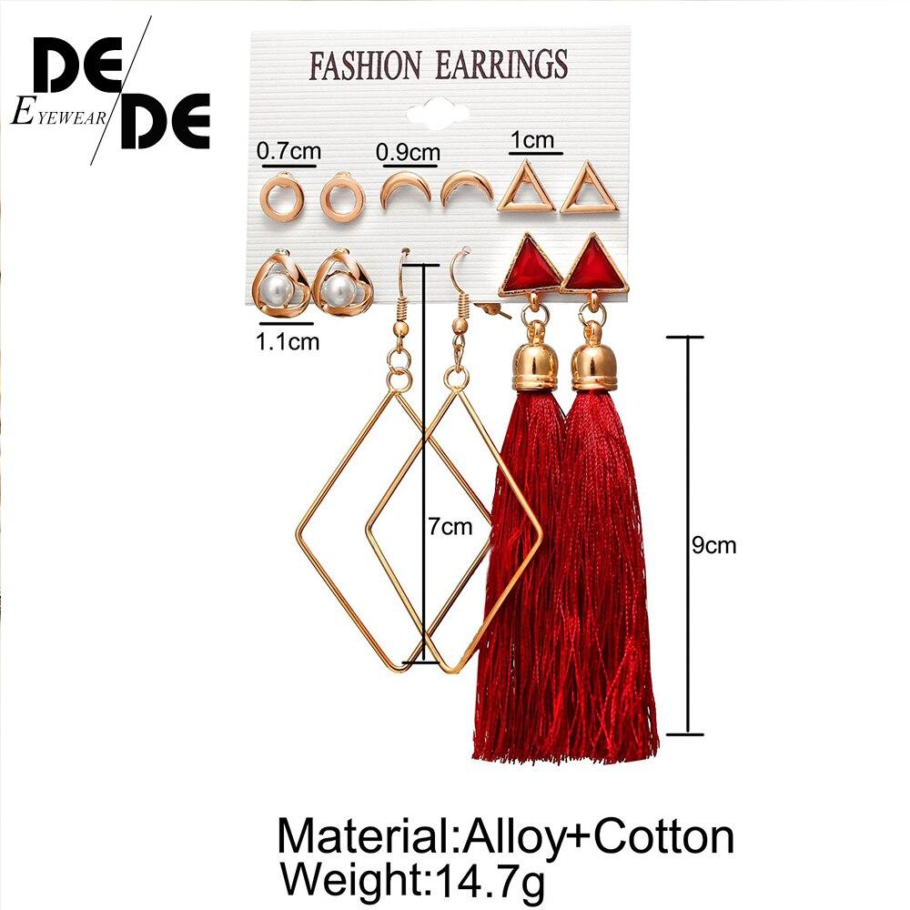 9 Bohemian Earring Long Tassel Drop Earrings Set For Women Girl 2019 Fashion Geometric Earring Cheap Brincos Female Jewelry in Drop Earrings from Jewelry Accessories