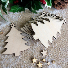 10PCS/ Lot Snowflake Star Santa Claus Boots Bells Christmas Tree Hanging Wooden Ornaments Party Christmas Decorations for Home christmas bells tree santa claus zip up hoodie