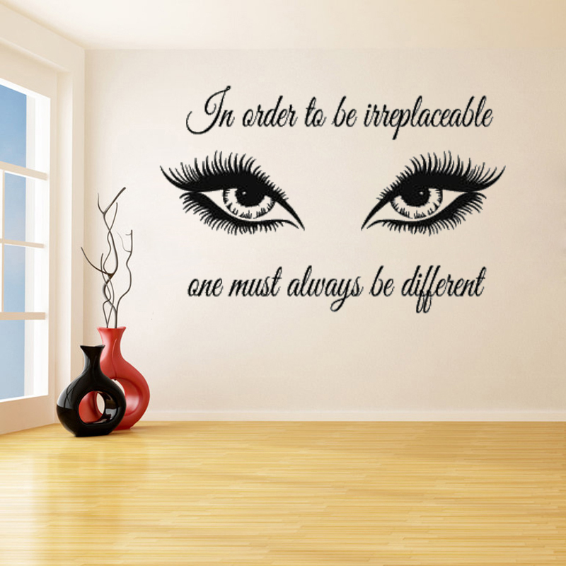 Beautiful big eyes plus some words wall stickers for living room vinyl murals looks special wall for Beautiful wall stickers for living room