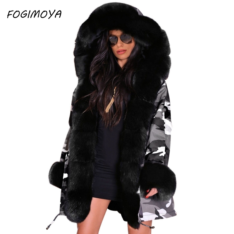 Down Women Fashion Long Stlye Slim-fit Warm Women's Camouflage Jacket Long Fur Collar Hooded Coat Cotton Coat