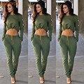 S-XL 2016 New arrival outono inverno feminino velo fatos de treino casuais 2 peça set mulheres cropped top fatos de calça longa elástica cintura