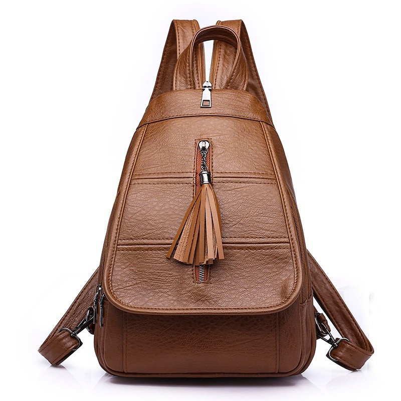 Backpack For Girls Women Leather Backpacks Mochila Feminina Tassel Rucksacks For Girls Vintage Bagpack Solid Casual Daypack