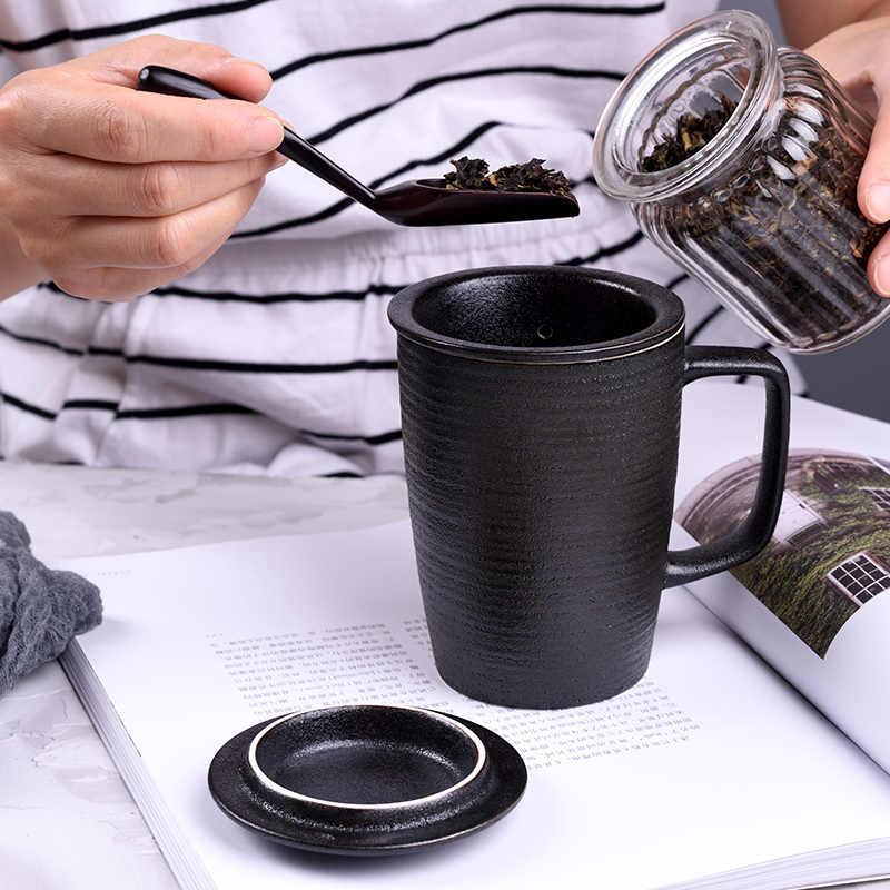 Ufficio tazza Con Coperchio Grande Capacità di Ceramica Su Ordinazione Ufficio Coppa del Filtro di Linea Semplice Bottiglia Per Acqua di Caffè Tazza di Viaggio Tazza