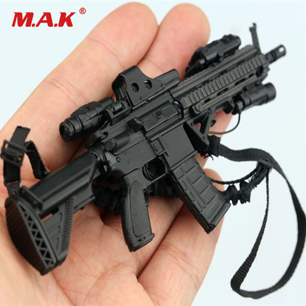 1/6 Scale Black HK416 M4 Rifle Holographic Pineapple Mirror Gun Weapon Model for 12 Action Figure цена