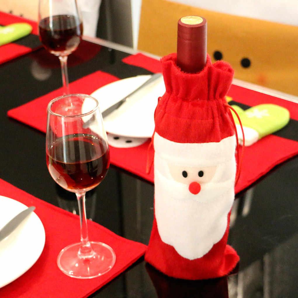 Горячая новинка Санта Клаус Рождественская крышка для бутылки с красным вином Сумки Украшение для рождественского ужина
