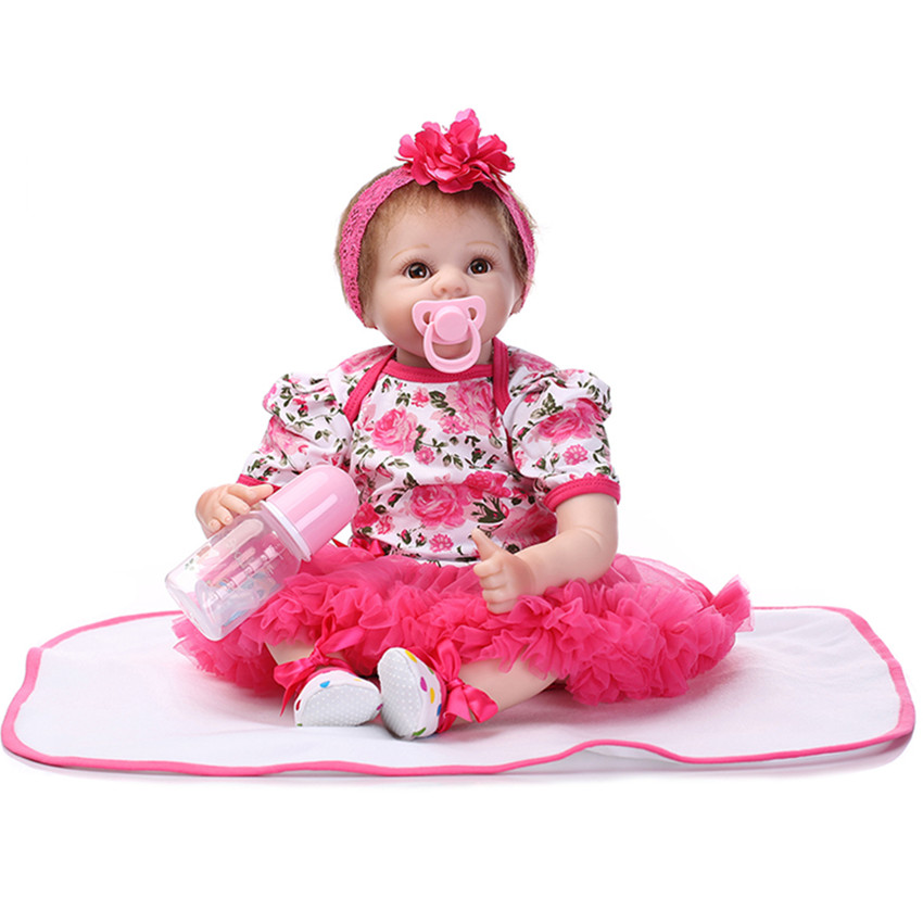 Vivid Silicone Reborn Baby Dolls with Clothes Headdress,20 '' Lifelike Baby Reborn Newborn Doll Toys for Girls Kids Gift short curl hair lifelike reborn toddler dolls with 20inch baby doll clothes hot welcome lifelike baby dolls for children as gift