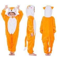 468da12a8f005 Flanelle chaude kigurumi pour enfants mignon animal kigurumi renard lion  tigre enfants onesie ensemble une pièce pyjamas animaux.