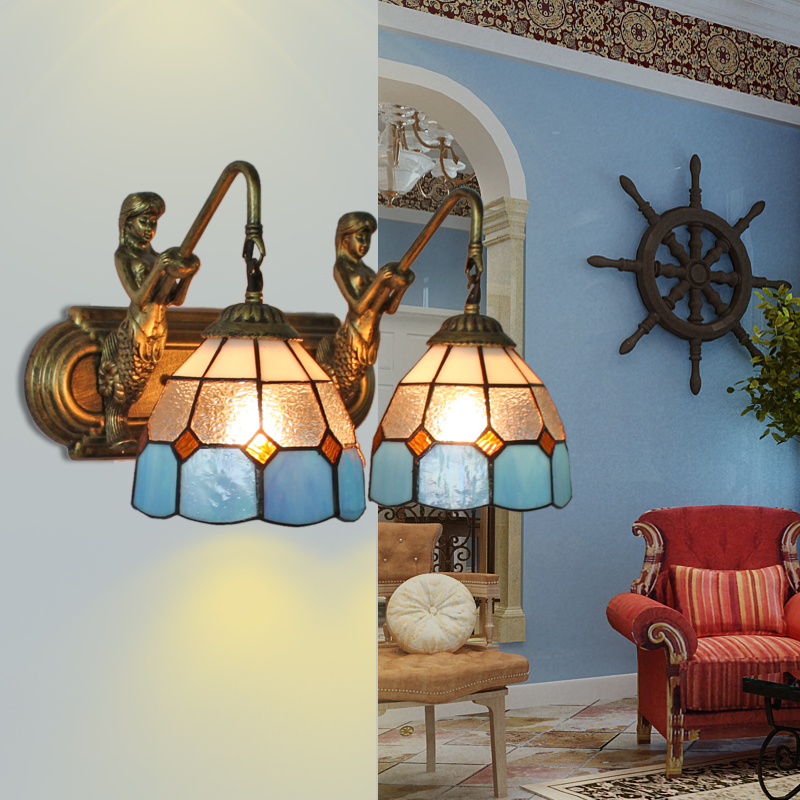Mediterranean Tiffany Double Mermaid Glass Sconce Wall Lamps Wall Light Light E27 Bedside Wall Fixtures Home Decoration Lighting tiffany baroque sunflower stained glass iron mermaid wall lamp indoor bedside lamps wall lights for home ac 110v 220v e27