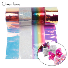 Cheer bow 75mm Synthetic Leather Ribbon Fashion Shiny Laser Transparent DIY handmade Material Hair Bow Accessories 2yards