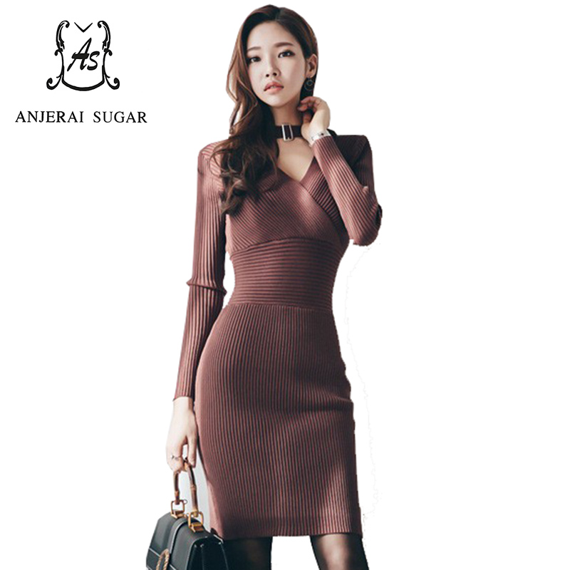 2017 spring winter women knit dress sexy slim V-Neck Long sleeve sweater knitted package hip vestidos bodycon sweater dresses forefair fashion slim knitted party dresses women clothing 2018 spring long sleeve sexy criss cross v neck bodycon dress vestido